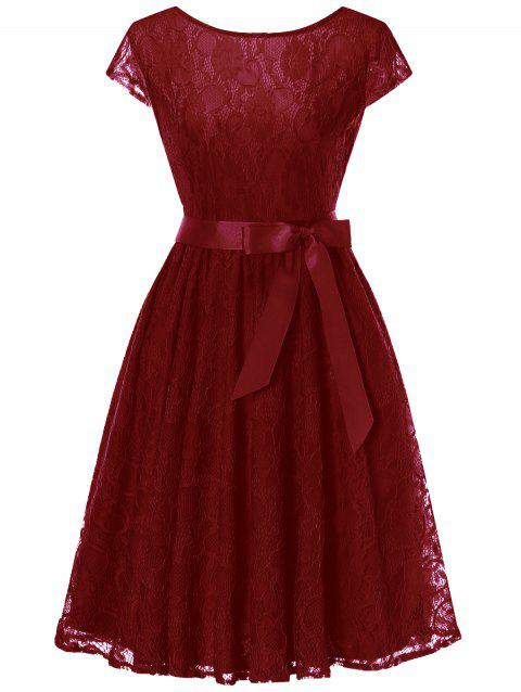 Cap Sleeve Lace Swing Dress with Tie Bowknot - WINE RED XL
