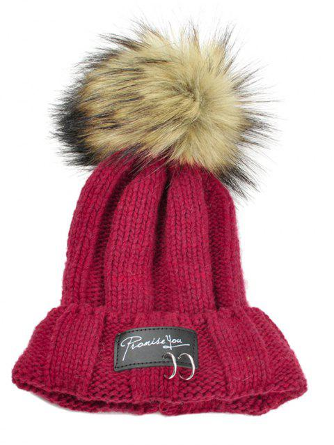 Letter Label Decorated Fuzzy Ball Knitted Beanie - RED