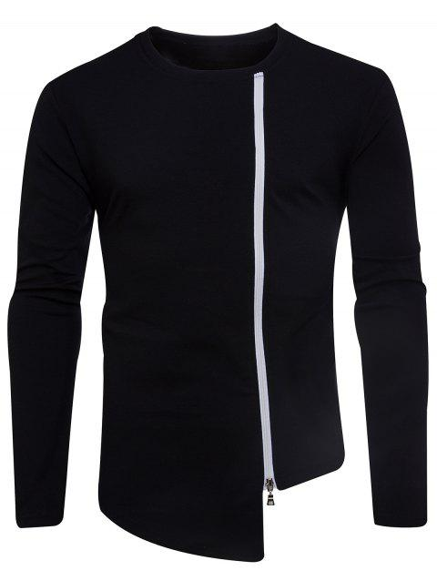 Long Sleeve Oblique Zip Up Asymmetric T-shirt - BLACK XL