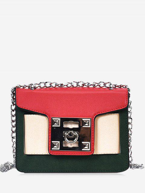 Chain Color Block Crossbody Bag - RED