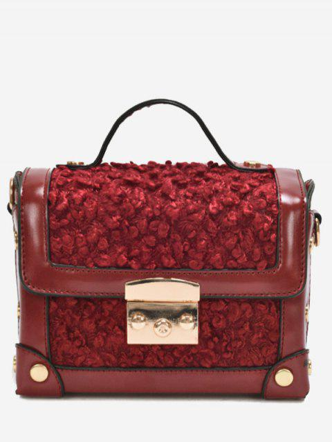 Studs Splicing Crossbody Bag With Handle - WINE RED