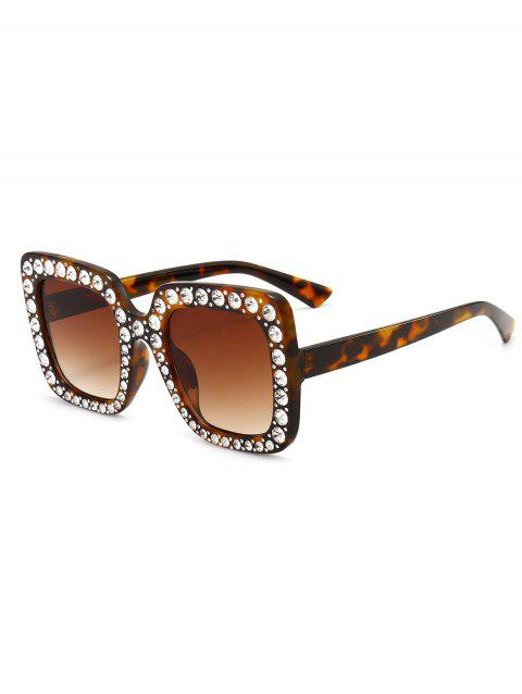 Anti UV Rhinestone Decorated Oversized Square Sunglasses - LEOPARD/BROWN