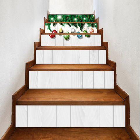 Christmas Small Ball Hanging Print 6 Pieces Home Stairs Stickers - WHITE 100*18CM*6PCS