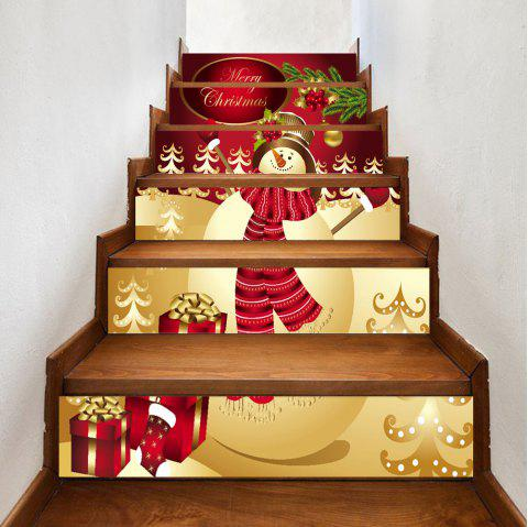 Christmas Happy Snowman Print 6 Pieces Home Stairs Stickers - RED 100*18CM*6PCS