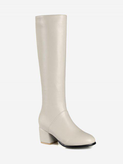 PU Leather Mid Heel Knee High Boots - WHITE 42