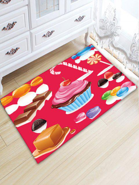 Sweets Printed Flannel Water Absorption Nonslip Bath Mat - RED W20 INCH * L31.5 INCH