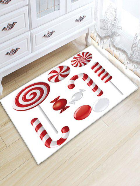 Christmas Sweets Print Flannel Skidproof Bath Rug - RED/WHITE W20 INCH * L31.5 INCH