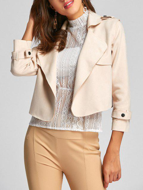 Turndown Collar Faux Suede Jacket - BEIGE ONE SIZE