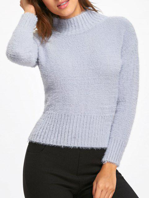 Furry Dropped Shoulder Mock Neck Sweater - BLUE GRAY ONE SIZE