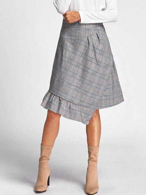 Asymmetrical Plaid Midi Skirt - GRAY S