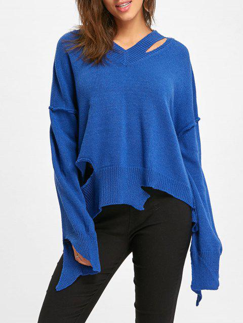 V Neck Dolman Sleeve Cut Out Sweater - BLUE ONE SIZE