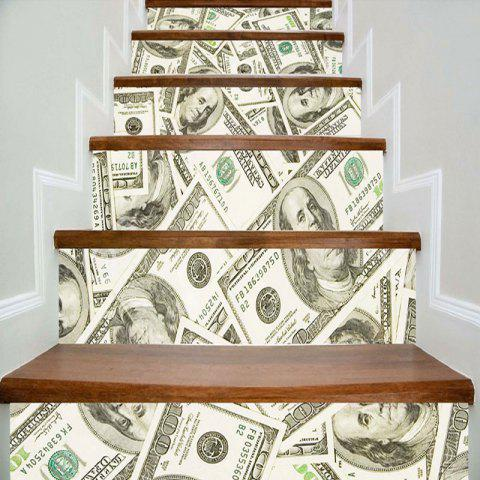 Dollars Art Decorative Stair Stickers - GREEN 100*18CM*6PCS