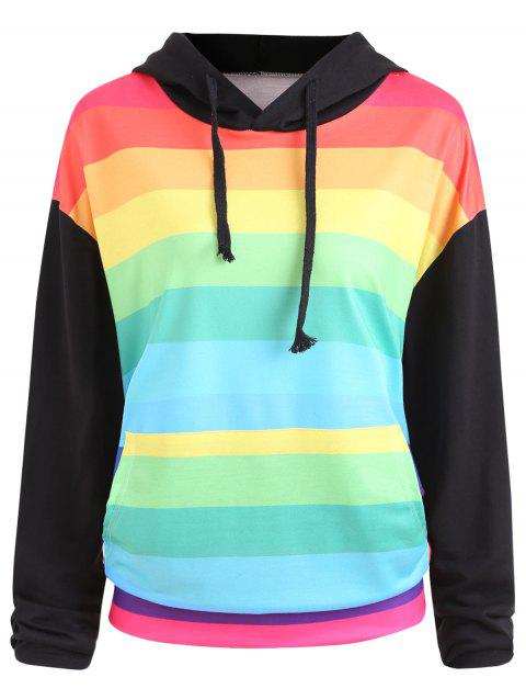 Plus Size Rainbow Stripe Pullover Hoodie - COLORFUL 3XL