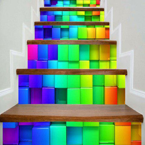 Colorful Boxes Pattern 3D Stair Stickers - COLORFUL GEOMETRIC 100*18CM*6PCS