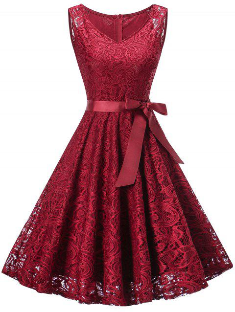 V Neck Sleeveless Lace 50s Swing Dress - WINE RED 2XL