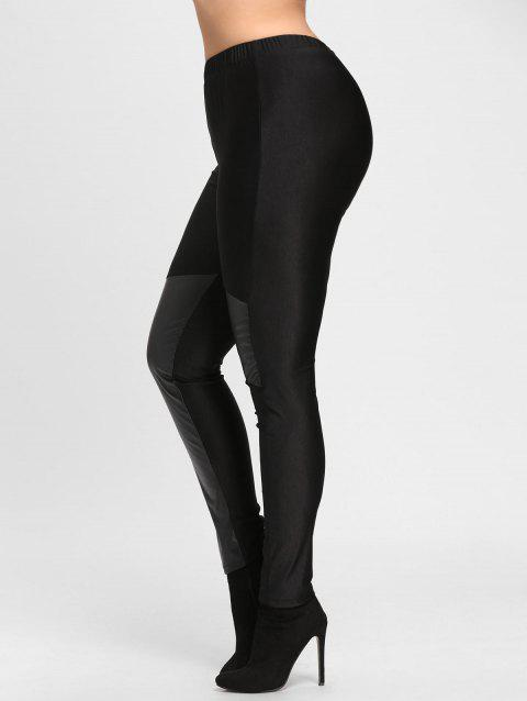 ec0d0e1763259 23% OFF  2018 Faux Leather Trim Plus Size Leggings In BLACK 4XL ...