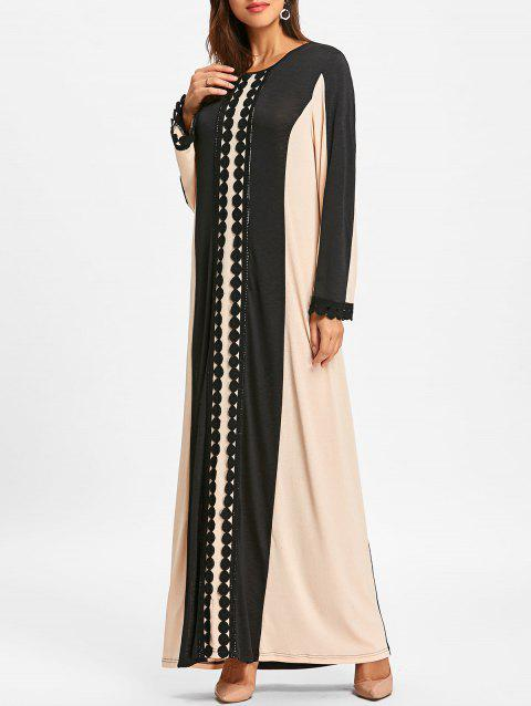 Color Block Lace Insert Maxi Arabic Dress - BLACK XL