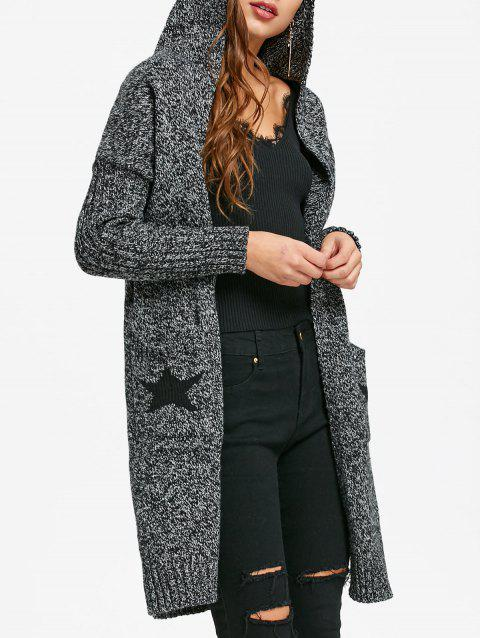 Hooded Star Intarsia Longline Cardigan - DARK HEATHER GRAY ONE SIZE