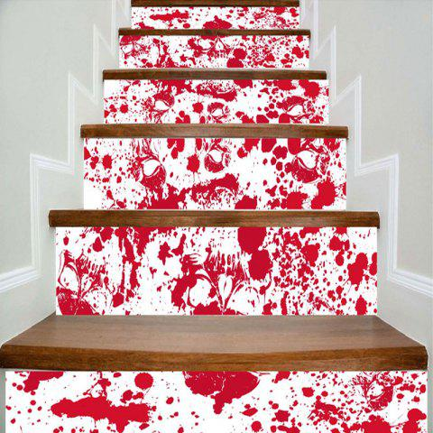 Bloodstain and Skull Printed Decorative DIY Stair Stickers - RED/WHITE 100*18CM*6PCS