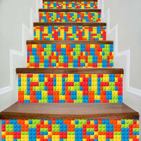 Lego Bricks Print Decorative DIY Stair Stickers - COLORFUL 100*18CM*6PCS