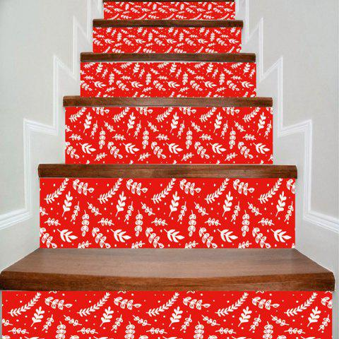 Home Decorative Plant Pattern DIY Stair Stickers - RED 100*18CM*6PCS