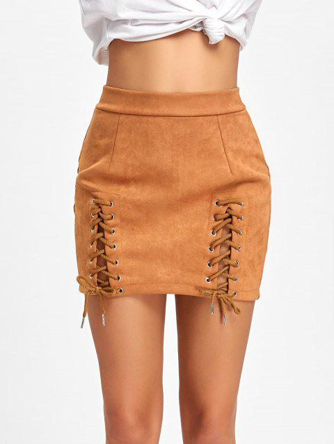 Faux Suede Lace Up Mini Skirt - BROWN XL