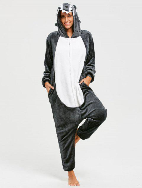 Fleece Wolf Animal Onesie Pajama for Adult - DARK GRAY L