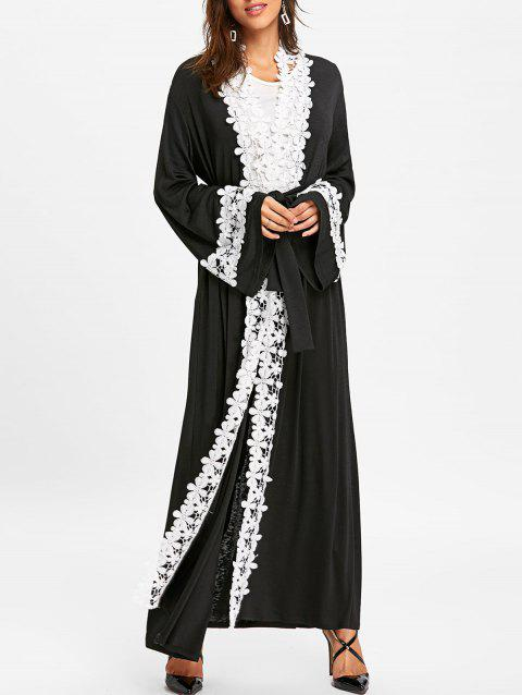 Contrast Floral Trim Maxi Coat with Tie Belt - BLACK 2XL