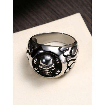 Gothic Style Round Shape Skull Pattern Stainless Steel Ring - BLACK 10