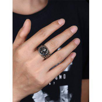Gothic Style Round Shape Skull Pattern Stainless Steel Ring - BLACK BLACK