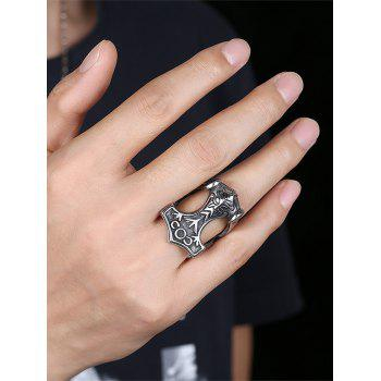 Symbols Carved Gothic Style Stainless Steel Biker Ring - SILVER SILVER