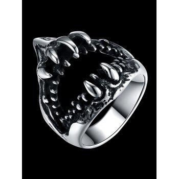 Gothic Style Teeth Decorated Stainless Steel Biker Ring - SILVER 9