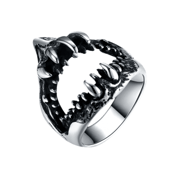 Gothic Style Teeth Decorated Stainless Steel Biker Ring - SILVER SILVER