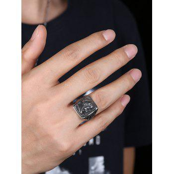 Vintage Human Pattern Carved Gothic Style Biker Ring - SILVER 8