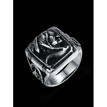 Vintage Human Pattern Carved Gothic Style Biker Ring - SILVER 9