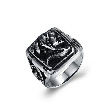 Vintage Human Pattern Carved Gothic Style Biker Ring - SILVER SILVER