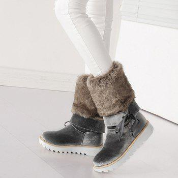 Stitching Faux Fur Mid Calf Boots - SMOKY GRAY 41