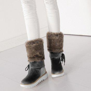 Stitching Faux Fur Mid Calf Boots - SMOKY GRAY 39