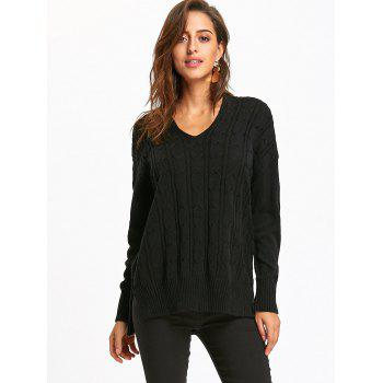 Drop Shoulder Cable Knit High Low Sweater - BLACK M