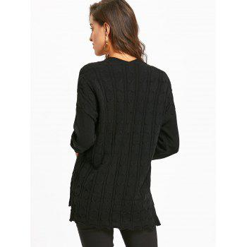 Drop Shoulder Cable Knit High Low Sweater - BLACK S