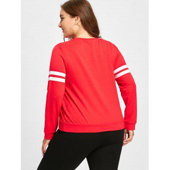 Plus Size Stars Stripe Graphic Long Sleeve T-shirt - RED 2XL