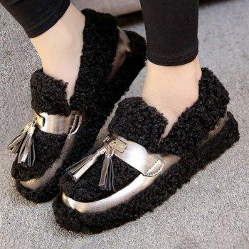 Fuzzy Slip On Tassels Slip On Shoes - BLACK 39