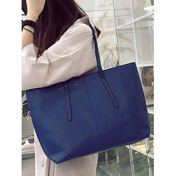 Faux Leather Stitching Zip Tote Bag - BLUE