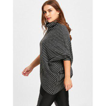 Asymmetrical Striped Plus Size Poncho Sweater - BLACK ONE SIZE