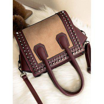 Studs Color Block Handbag - WINE RED
