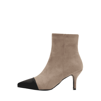 Color Block Stiletto Pointed Toe Boots - APRICOT 37