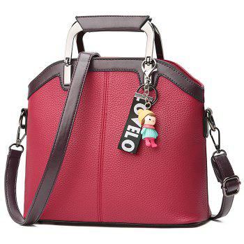 Contrasting Color Letter Cartoon Pendant Crossbody Bag - WINE RED