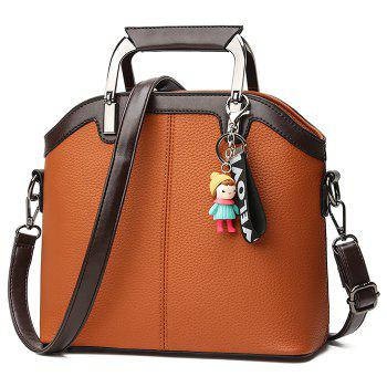 Contrasting Color Letter Cartoon Pendant Crossbody Bag - BROWN