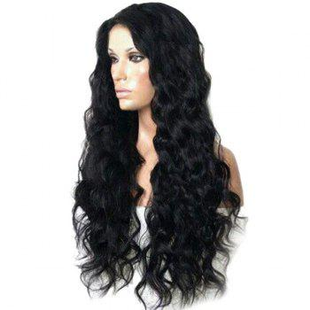 Long Side Parting Bouffant Body Wave Synthetic Wig - NATURAL BLACK