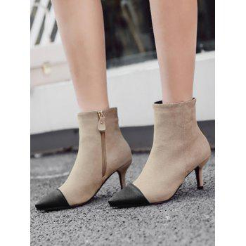 Color Block Stiletto Pointed Toe Boots - APRICOT 36